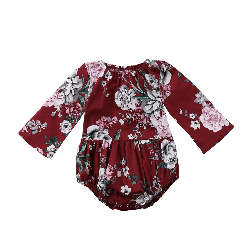 Long sleeve Floral Baby Girl Jumpsuit Romper Outfits Set