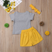 Load image into Gallery viewer, Sister Brother Sets Ruffles/Bowknot Short Sleeve Tops Shirt & Yellow Shorts 2Pcs Clothes