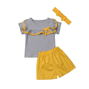 Sister Brother Sets Ruffles/Bowknot Short Sleeve Tops Shirt & Yellow Shorts 2Pcs Clothes