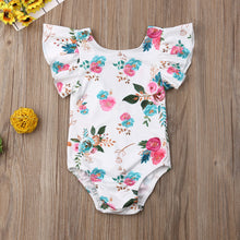 Load image into Gallery viewer, Newborn Baby Girl Fly Sleeve Ruffle Flower Print Romper