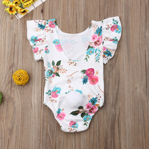 Newborn Baby Girl Fly Sleeve Ruffle Flower Print Romper