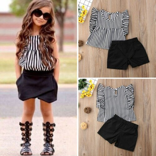 Stripped Girl Sleeveless Tops Shorts Pants Summer Outfits Clothes
