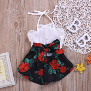 Floral lace Summer Newborn Baby Girl Clothes Sleeveless Flower Print Strap Romper Jumpsuit One-Piece Outfit Summer Clothes