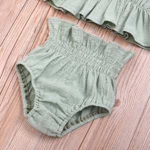 Summer Baby Girl Solid Color Ruffle Strap Cropped Tops Short Pants 2Pcs Outfit