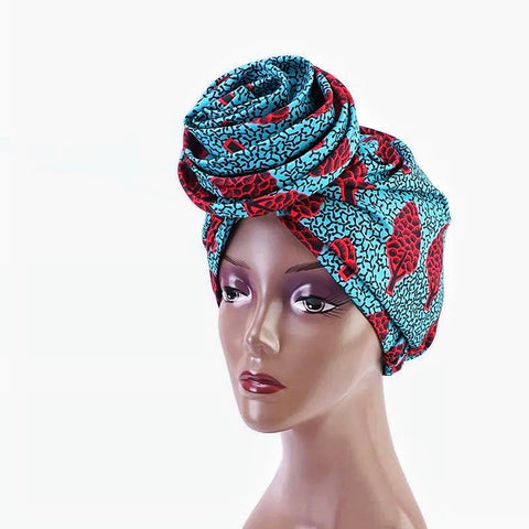 Silk Ankara Turban in BlueBrown