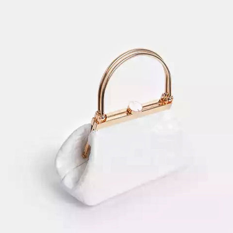 the LYDIA Metallic Handle Clasp Bag In White Croc Print