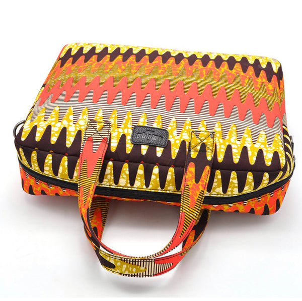 TOBI African Print Laptop Tech Bag Orange