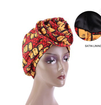 Silk Ankara Turban in Red Yellow