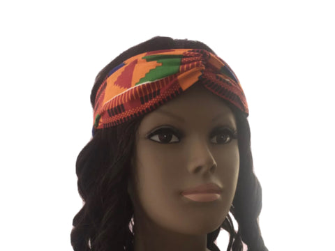 African Cross Turban Headband in Kente