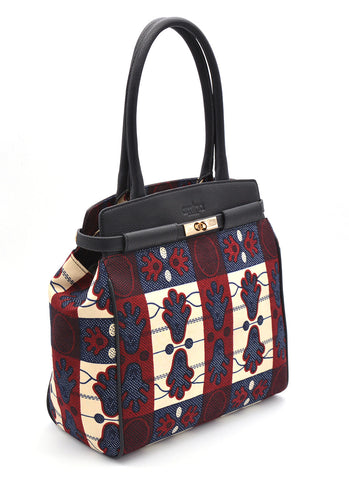 Work Bag GRACE in Burgundy-Blue Luxe Ankara