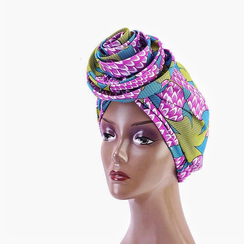 Silk Ankara Turban in Purple