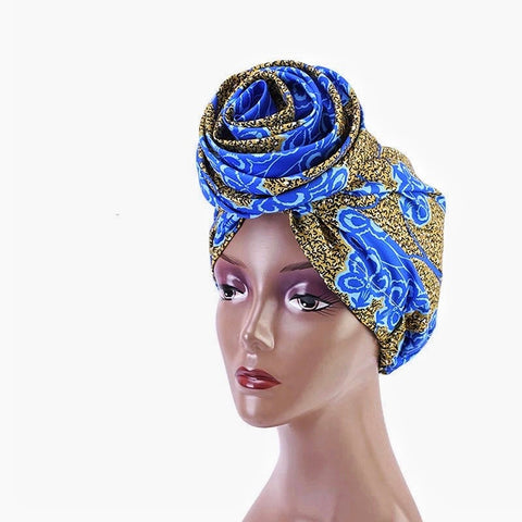 Silk Ankara Turban in Blue Yellow