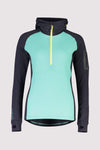 Ascend Midi Half Zip Hood - Mint Edge