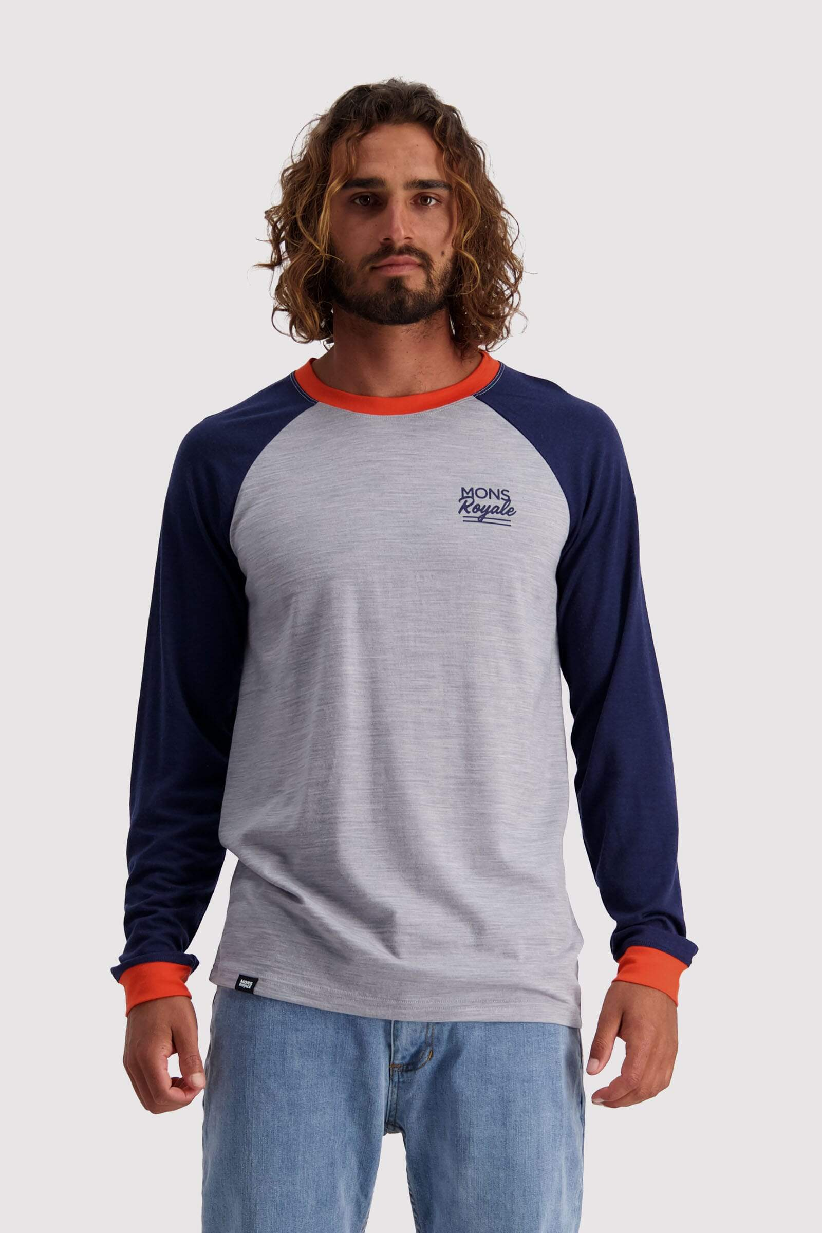 The Go To Raglan LS - Navy / Grey Marl