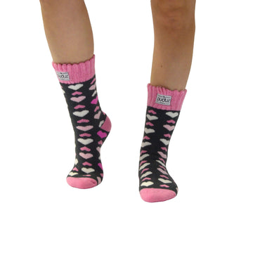 Boot Sock Heart Pink Adult Short