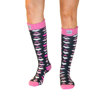 Boot Sock Heart Pink Adult Tall