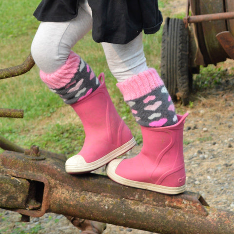Boot Socks | Heart Pink | Kids Tall