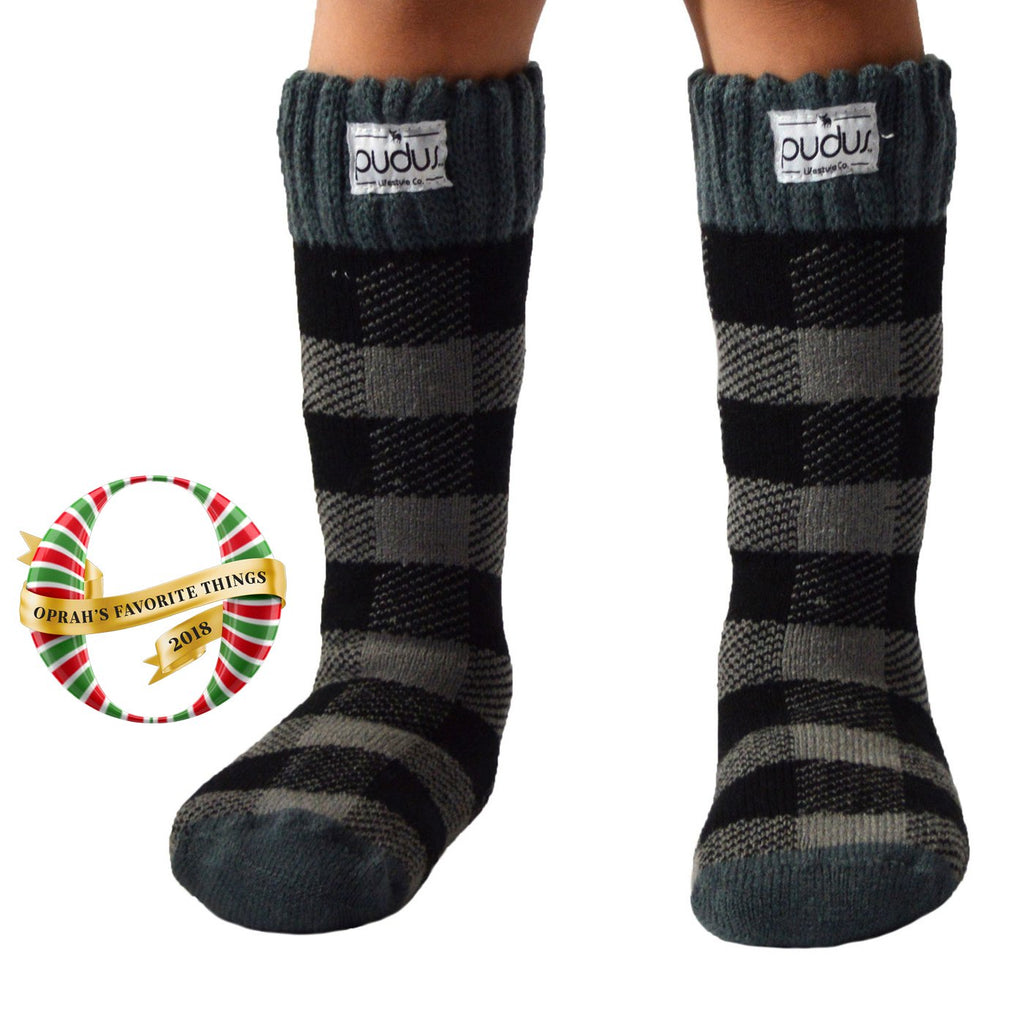 Pudus Kids Warm Boot Socks (Ages 4-7), Tall Winter Socks for Boys and Girls (Perfect Thermal Socks for Rain Boots, Snow Shoes and Hiking Boots) Boot Sock Lumberjack Grey Kid Tall