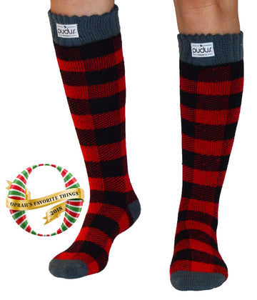 Pudus Women's Warm Tall Boot Socks (W 6-10), Fleece-Lined Knee High Winter Socks (Perfect Thermal Socks, Rain Boot Socks and Hiking Socks) Boot Sock Lumberjack Red Adult Tall