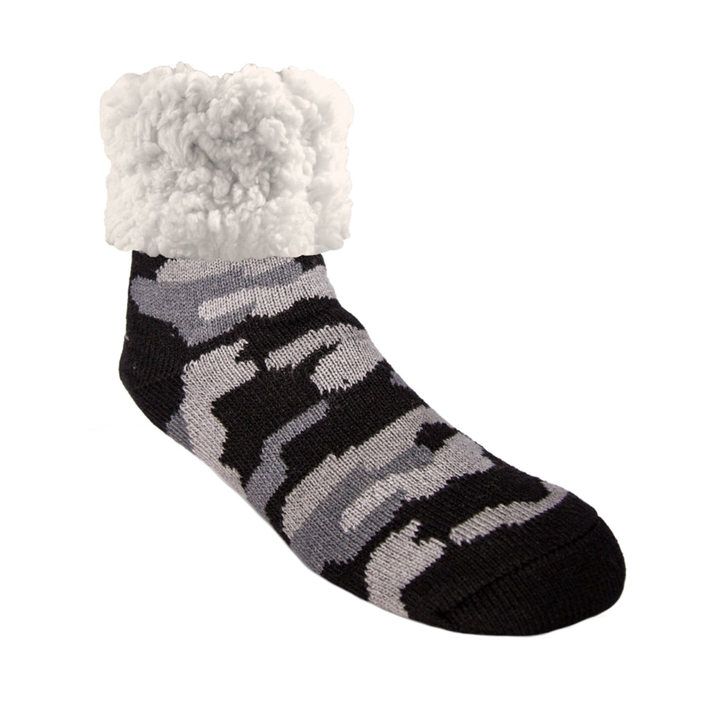 Pudus Cozy Winter Slipper Socks Camo Grey for Women and Men with Non-Slip Grippers and Faux Fur Sherpa Fleece - Adult Regular Fuzzy Socks Classic Slipper Sock