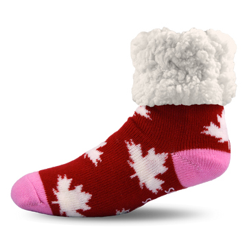 Pudus Cozy Winter Slipper Socks for Women and Men with Non-Slip Grippers and Faux Fur Sherpa Fleece - Adult Regular Fuzzy Socks Canadian Pride - Classic Slipper Sock