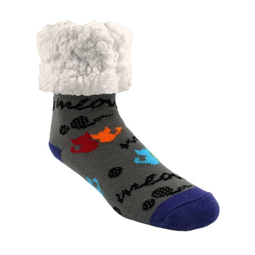 Pudus Classic Cat Grey slipper socks with purple heal and toe