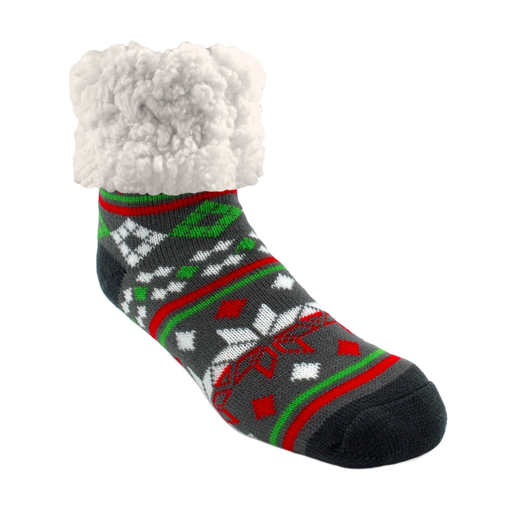Pudus Classic Christmas Eve Grey slipper socks with grey heal and toe