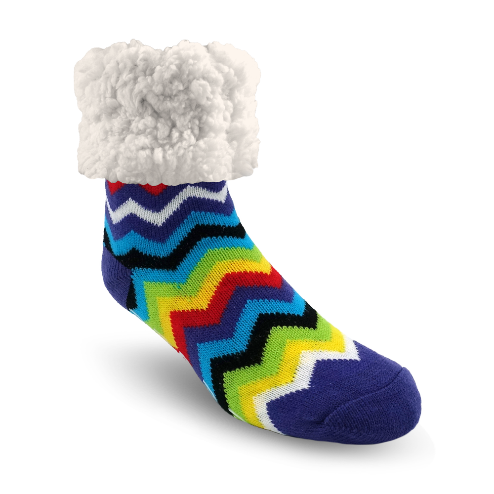 Pudus Cozy Winter Slipper Socks for Women and Men with Non-Slip Grippers and Faux Fur Sherpa Fleece - Adult Regular Fuzzy Socks Rainbow Multi - Classic Slipper Sock