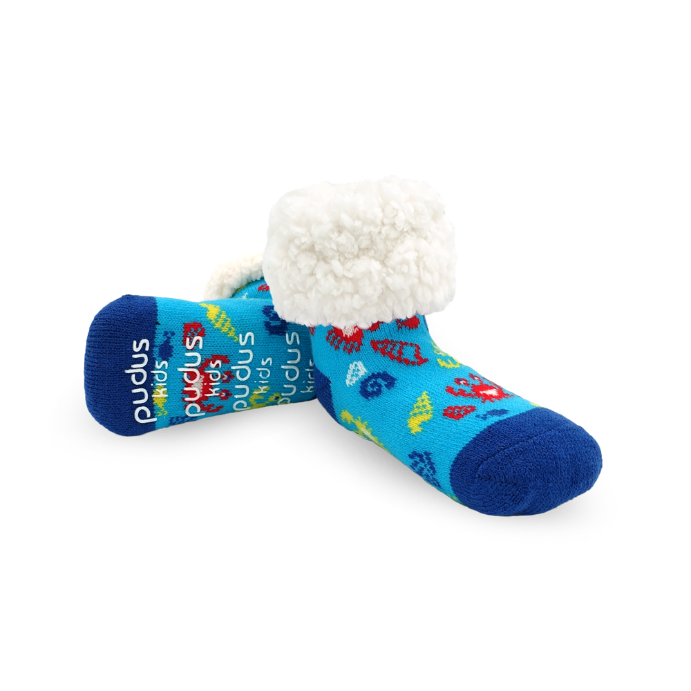 Pudus Cozy Winter Slipper Socks for Kids in Crab Blue with Non-Slip Grippers and Faux Fur Sherpa Fleece -  Boy and Girl Fuzzy Socks (Ages 4-7)