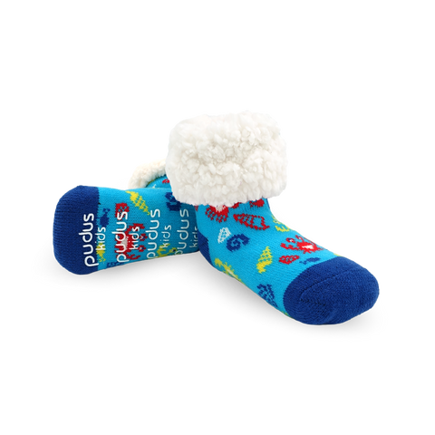 Kids Classic Slipper Socks | Crab Blue