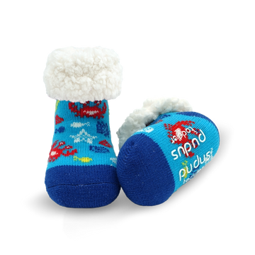 Toddler Classic Slipper Socks | Crab Blue