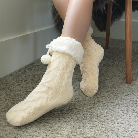 Classic Slipper Socks | Chenille Knit White