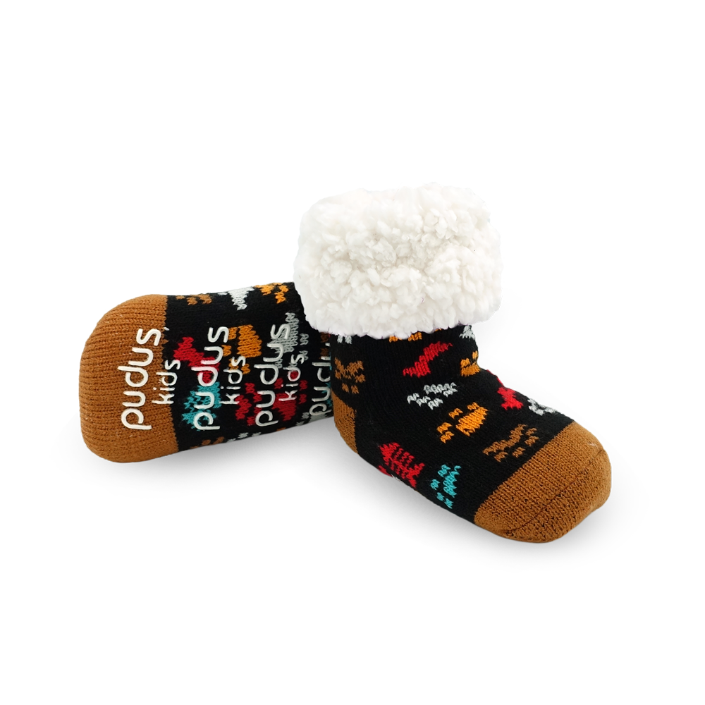 Pudus Cozy Winter Slipper Socks for Kids with Non-Slip Grippers and Faux Fur Sherpa Fleece - Boy and Girl Fuzzy Socks (Ages 4-7) Dog Paw - Kids Classic Slipper Sock