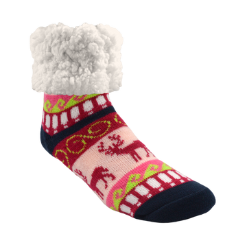 Classic Slipper Socks | Reindeer Raspberry