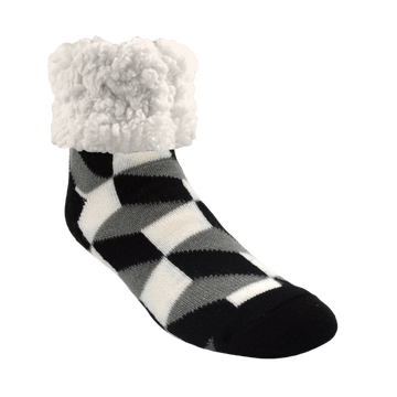 Pudus Cozy Winter Slipper Socks for Women and Men with Non-Slip Grippers and Faux Fur Sherpa Fleece - Adult Regular Fuzzy Socks Check Box Black - Classic Slipper Sock
