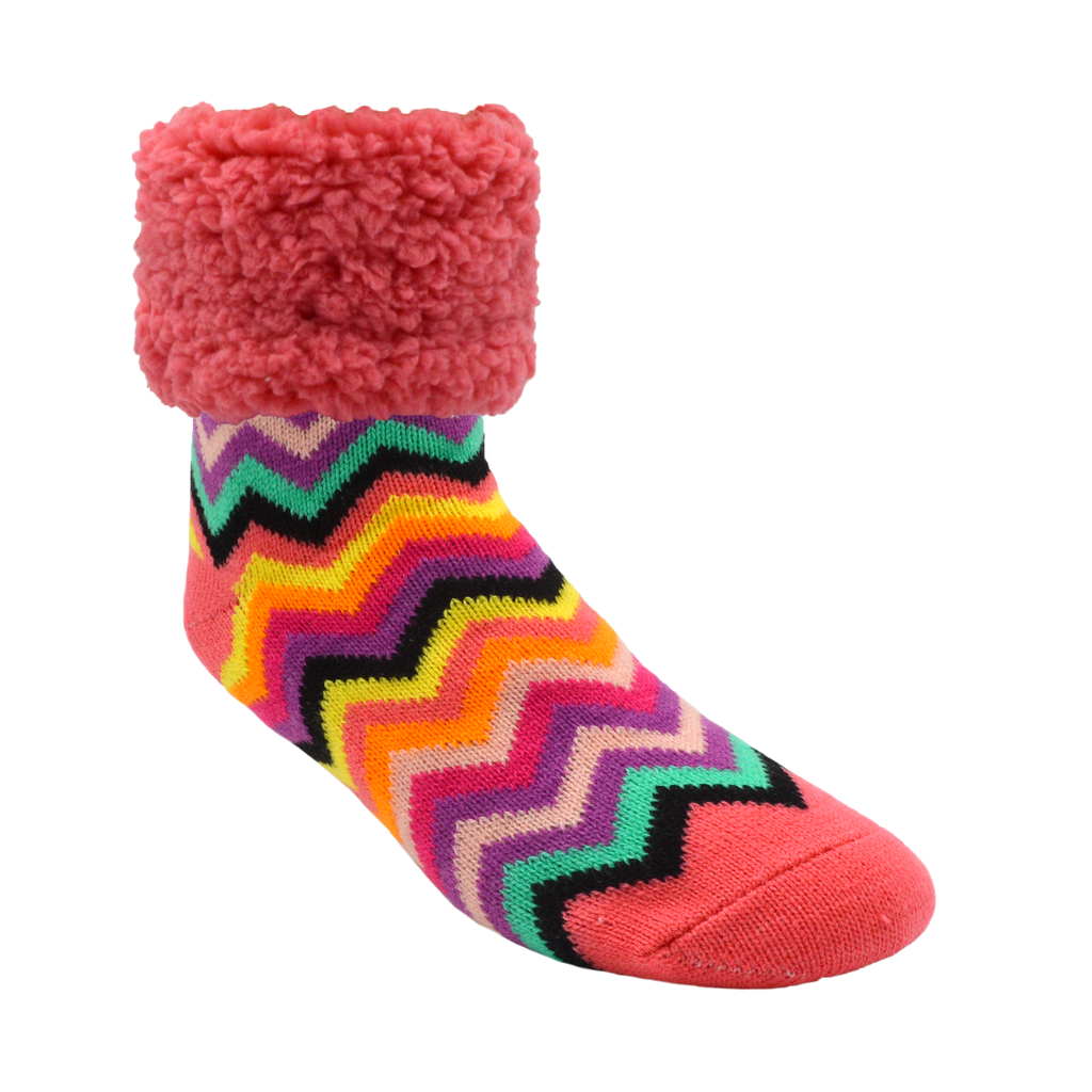 Pudus Cozy Winter Slipper Socks for Women and Men with Non-Slip Grippers and Faux Fur Sherpa Fleece - Adult Regular Fuzzy Socks Bright Coral Chevron Classic Slipper Sock