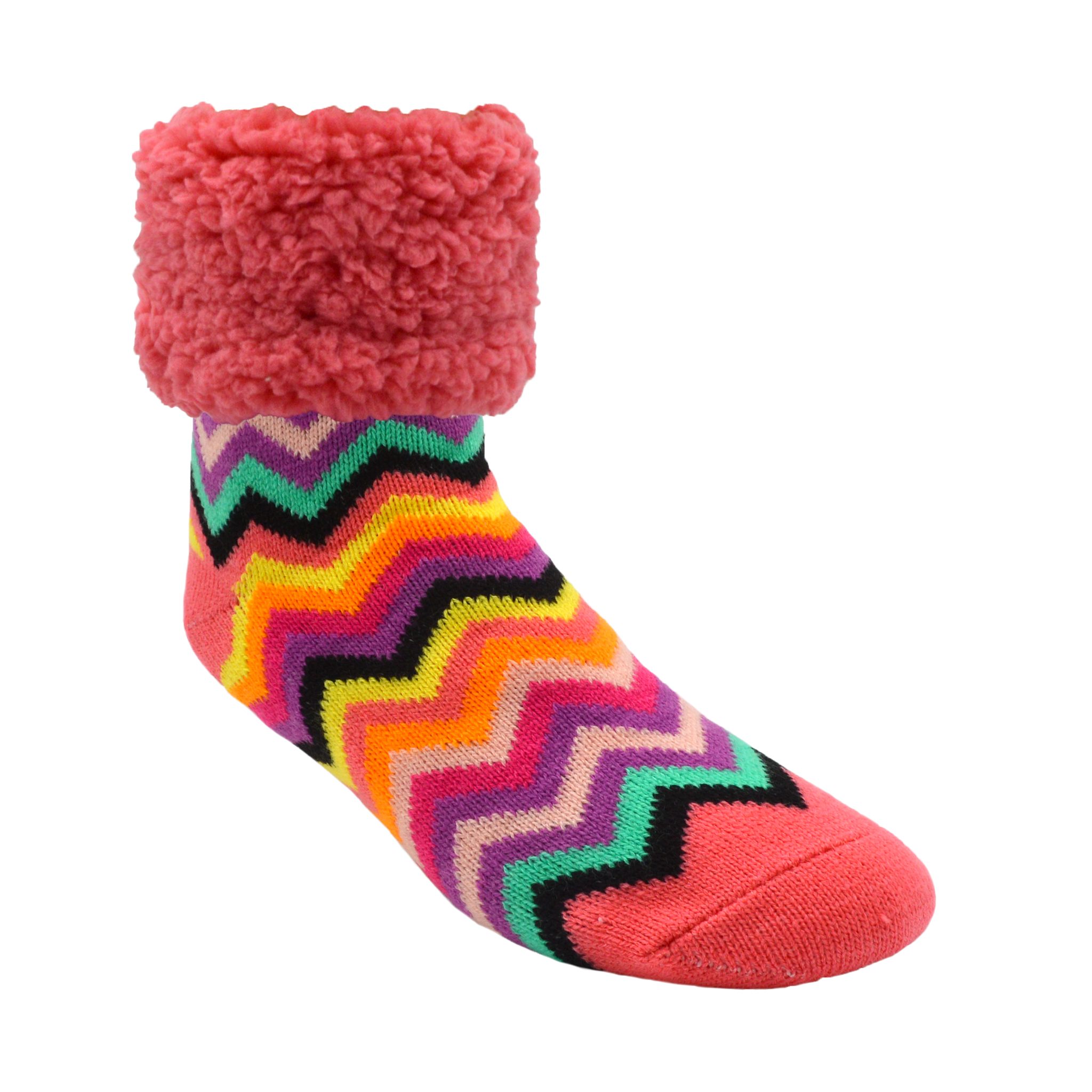 Classic Slipper Socks | Bright Coral Chevron