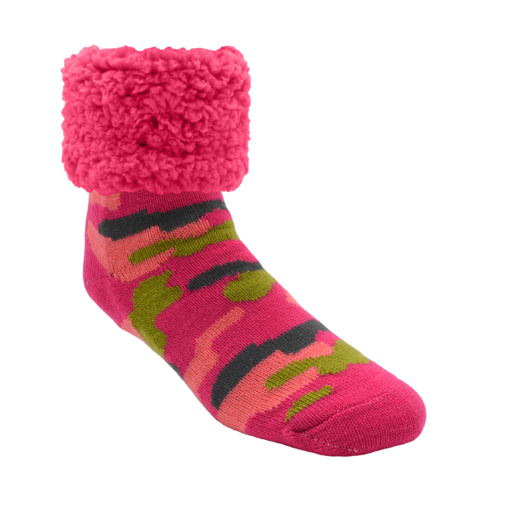 Pudus Cozy Winter Slipper Socks for Women and Men with Non-Slip Grippers and Faux Fur Sherpa Fleece - Adult Regular Fuzzy Socks Bright Camo Pink- Classic Slipper Sock