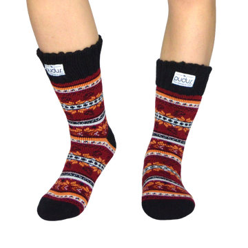 Autumn Red Short Boot Socks With Fleece-Lining, Mid Calf Length Winter Thermal Socks
