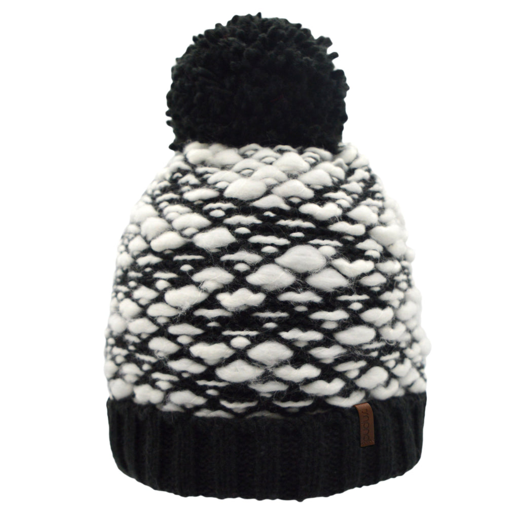 Black and White Woven Yarn Toque Hat with White Fleece Lining, Fluffy Pom Pom and Solid Black Trim