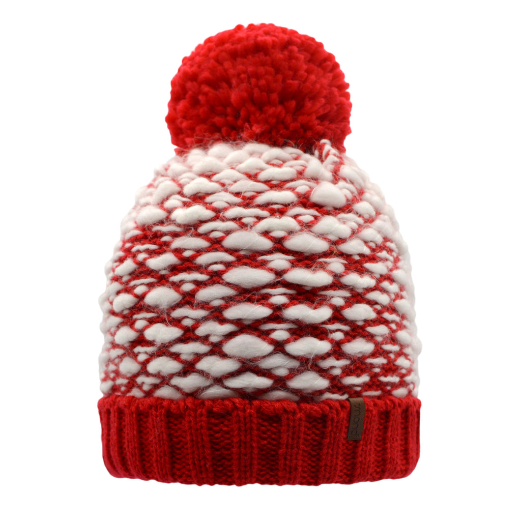 Red and White Woven Yarn Toque Hat with White Fleece Lining, Fluffy Pom Pom and Solid Red Trim
