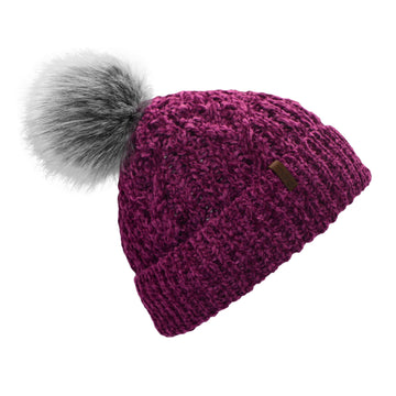 Pudus Women's Winter Beanie Hat in Dark Purple with Faux Fur Pom Pom - Cable Knit Chenille and Fleece Lined
