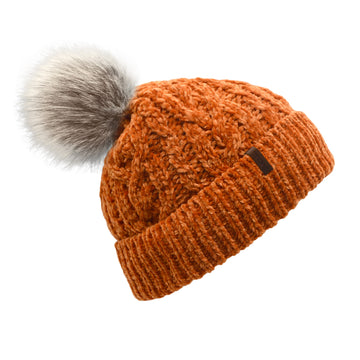Pudus Women's Winter Beanie Hat in Peach Caramel with Faux Fur Pom Pom - Cable Knitted Chenille and Fleece Lined