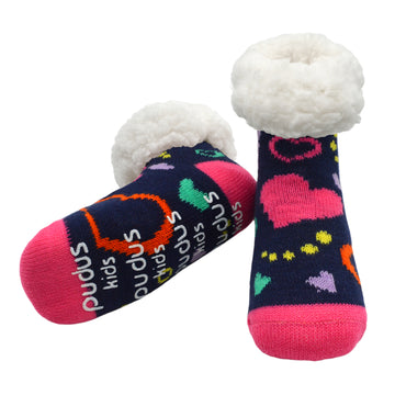 Pudus Cozy Winter Slipper Socks for Kids in Heart Navy with Non-Slip Grippers and Faux Fur Sherpa Fleece - Boy and Girl Fuzzy Socks (Ages 4-7)