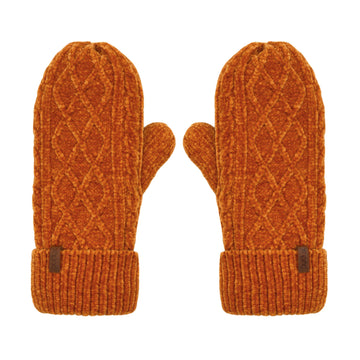 Winter Mittens in Peach Caramel Chenille Cable Knit - Adult Warm Gloves
