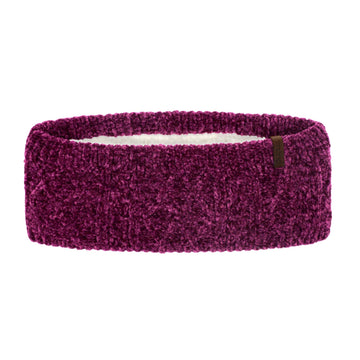 Dark Purple Chenille Cable Knit Ear Warmer Headband with Warm Faux Fur Fleece Lining