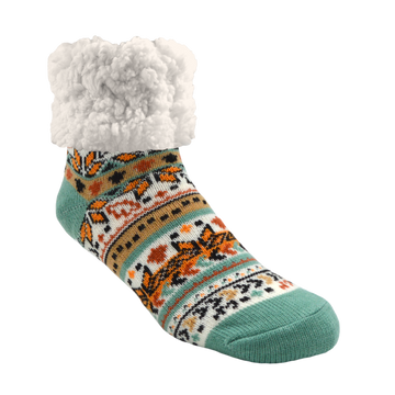 Pudus Cozy Winter Slipper Socks for Women and Men with Non-Slip Grippers and Faux Fur Sherpa Fleece - Adult Regular Fuzzy Socks Autumn White- Classic Slipper Sock