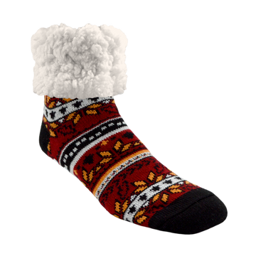 Pudus Cozy Winter Slipper Socks for Women and Men with Non-Slip Grippers and Faux Fur Sherpa Fleece - Adult Regular Fuzzy Socks Autumn Red- Classic Slipper Sock