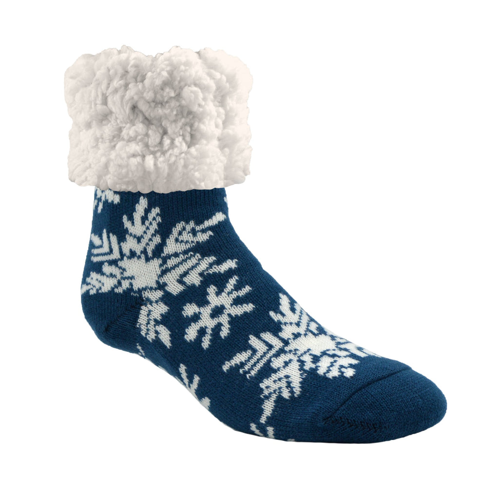 Pudus Cozy Winter Slipper Socks for Women and Men with Non-Slip Grippers and Faux Fur Sherpa Fleece - Adult Regular Fuzzy Snowflake Oxford - Classic Slipper Sock