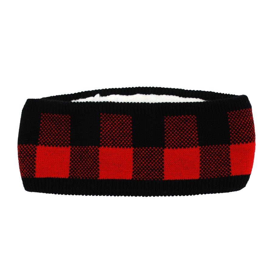 Pudus Lumberjack Red Winter Headband for Women - Ear Warmer, Headwrap, Winter Headband with Warm Faux Fur Fleece Lining
